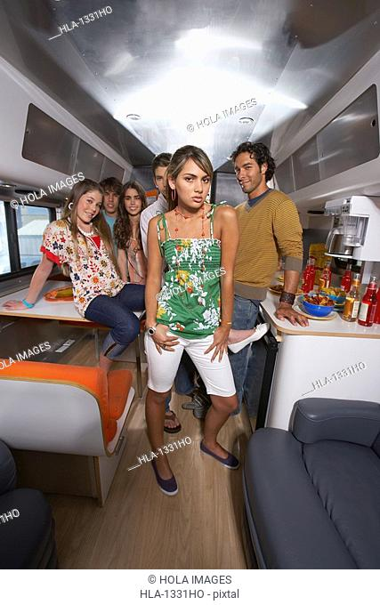 Group of people in a motor home