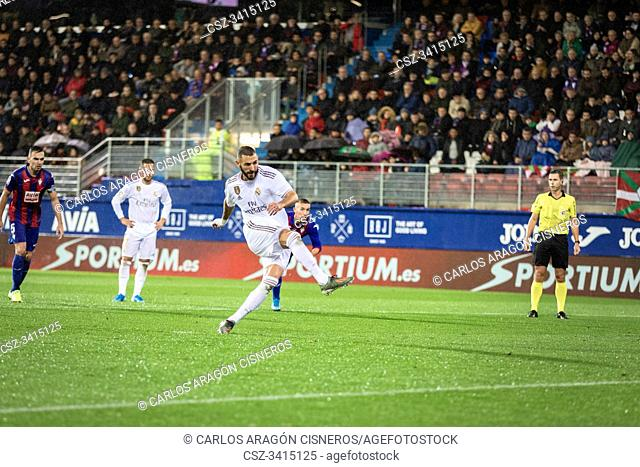 EIBAR, SPAIN - NOVEMBER 9, 2019: Karim Benzema, Real Madrid player, scores the goal in a Spanish League match between Eibar and Real Madrid at Ipurua Stadium