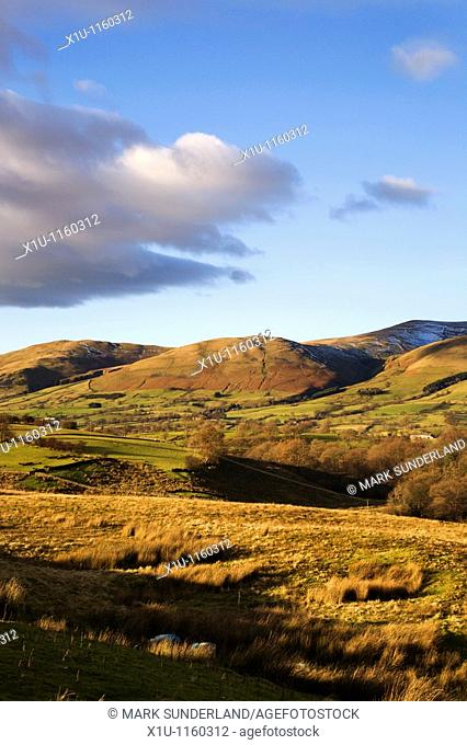 View to Crook Fell Howgill Fells from Garsdale Yorkshire Dales England