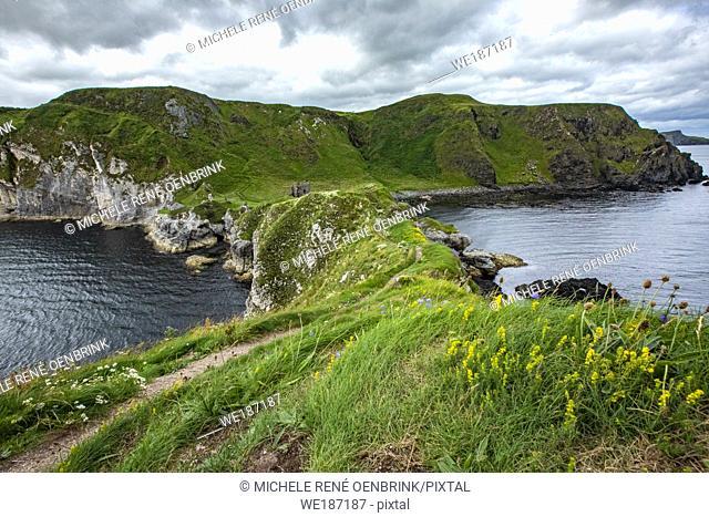 Kinbane Castle in County Antrim, Northern Ireland