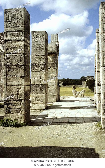 Chac-Mool. Chal, Chaak (top mayan God of agriculture, fertility, rain and lightning) on temple of warriors. Maya Architecture /Toltec influence Chichen Itza