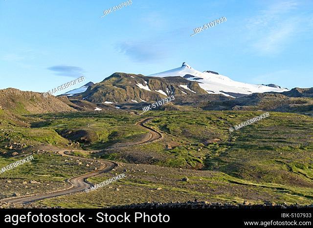 Volcano Snæfellsjökull, Snæfellsjökull National Park, Snaefellsnes Peninsula, Snæfellsnes, Vesturland, Iceland, Europe