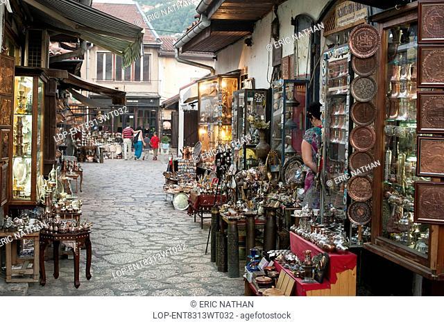 Bosnia and Herzegovina, Sarajevo Canton, Sarajevo. Stalls and shops in the side streets of the Bascarsija bazaar in Sarajevo