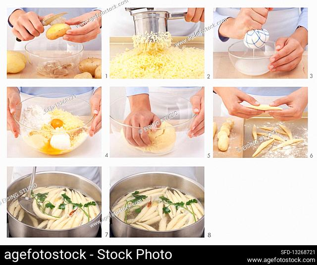 Finger pasta being made