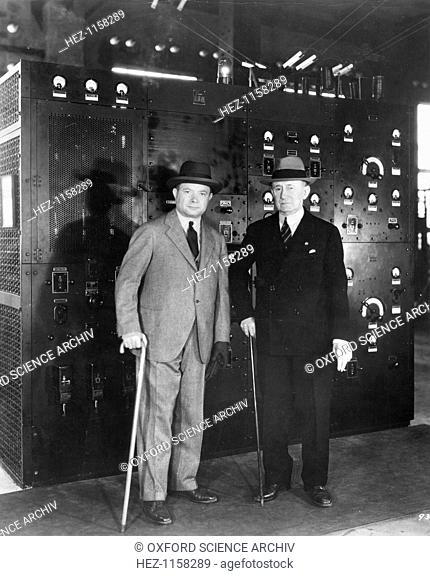 Guglielmo Marconi and David Sarnoff, 1933. Guglielmo Marconi (1874-1937) Italian radio pioneer, right, and David Sarnoff (1891-1971) Russian-born American...