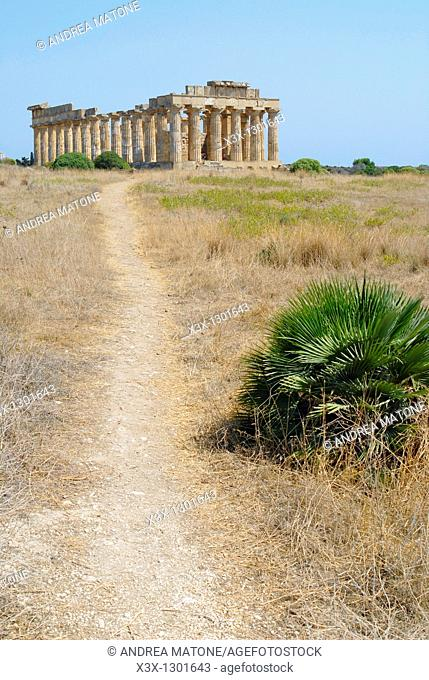 Full view of the Greek temple from a distance Selinunte Sicily Italy