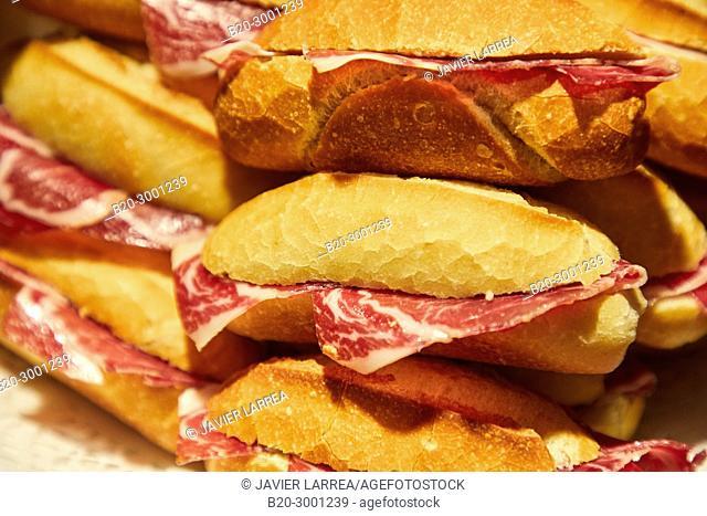 Ham sandwich, Pintxos, Bar Taberna Aralar, Parte Vieja, Old Town, Donostia, San Sebastian, Gipuzkoa, Basque Country, Spain