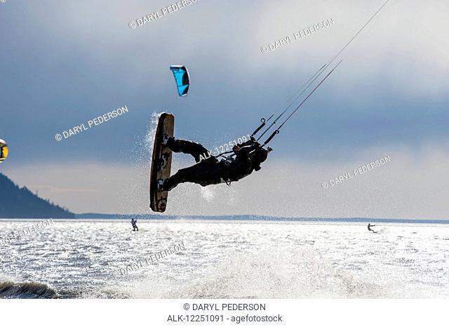Kite boarders on Turnagain Arm in Southcentral Alaska