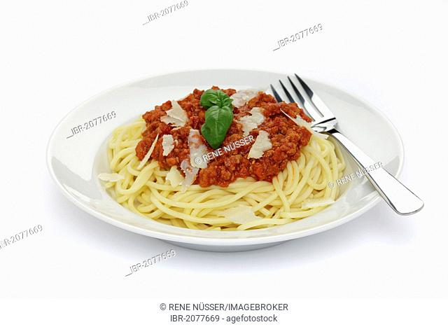 Spaghetti Bolognese with parmesan and basil, bread - recipe file available