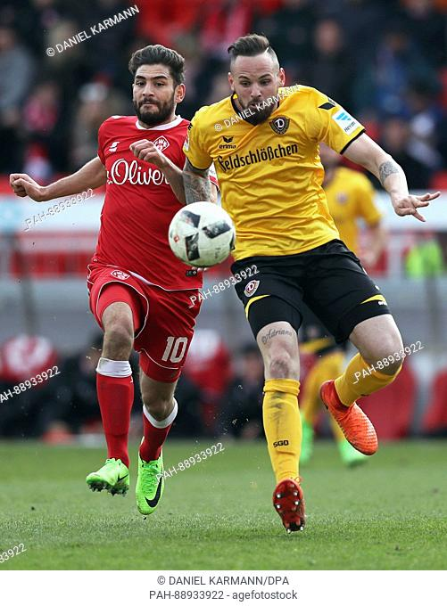 Soccer: 2nd Bundesliga, Wuerzberg Kickers vs. Dynamo Dresden, 24th match day at the Flyeralarm Arena in Wuerzburg 11 March, 2017