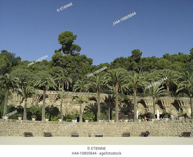 Barcelona, Gaudi, palm trees, park Guell, place, Spain