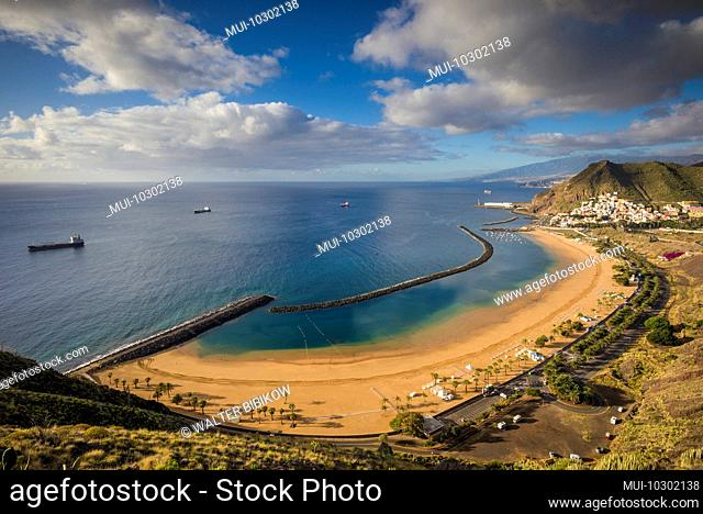 Spain, Canary Islands, Tenerife Island, San Andres, elevated view of beach town