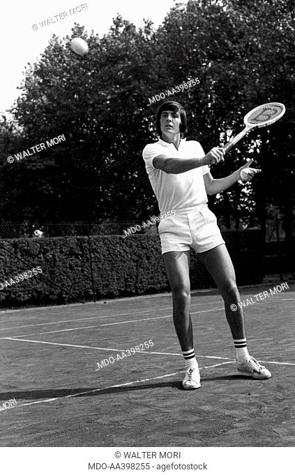 Adriano Panatta replying with a backhand volley. Italian tennis player Adriano Panatta getting ready to reply with a backhand volley. 1960s