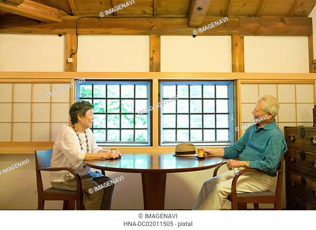 Senior couple chatting