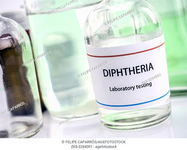 Test diphtheria in laboratory, conceptual image, composition horizontal