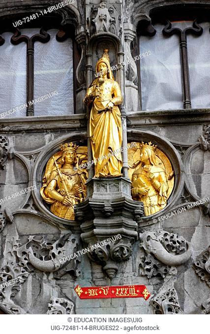 Bruges Belgium Flanders Europe Brugge gilded statue Basilica of the Holy Blood facade