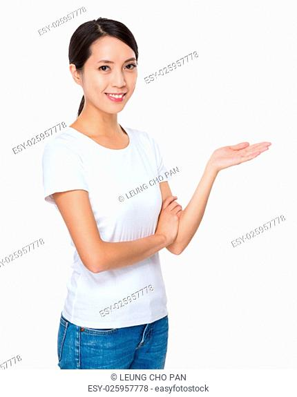 Woman with hand showing blank sign