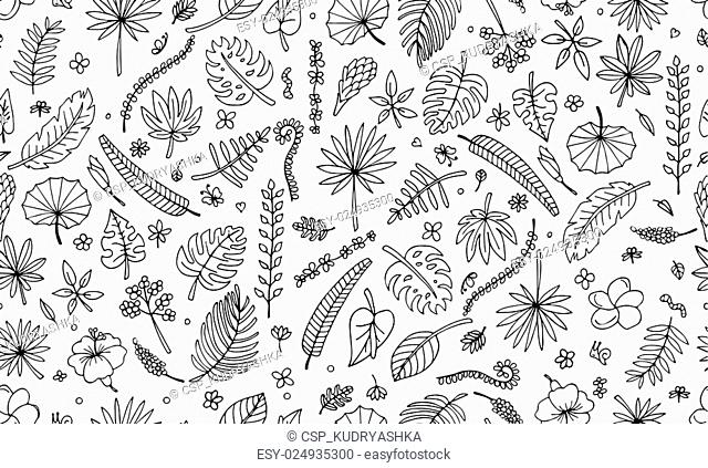Tropical plants, seamless pattern