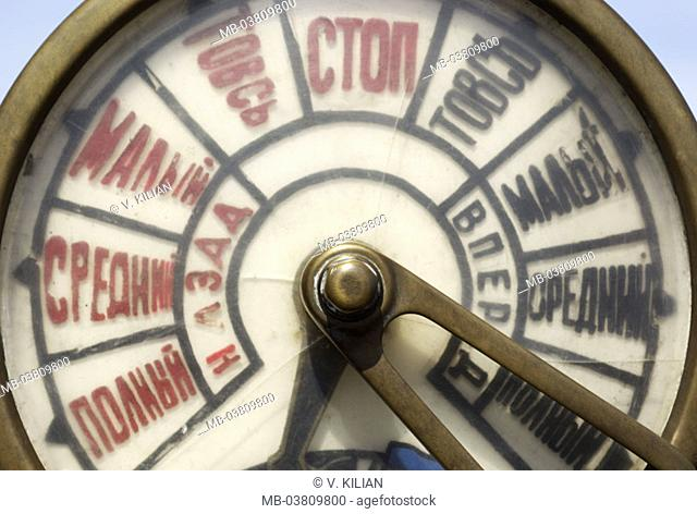 Machine telegraph, labeling,  Russian,   Ship, detail, shipping, navigation, signal appliance, command transmission, speed, sail ship, bridge, command, old