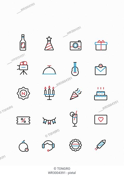 Set of various line icons related to party