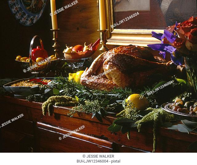 Roasted turkey on sideboard for thanksgiving