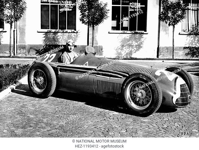 Fangio in Alfa Romeo, prior to the San Remo Grand Prix, Italy, 1950. Juan Manuel Fangio won the race, his first at the wheel of an Alfa Romeo
