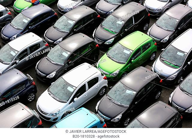 Vehicle Transportation of cars and light commercial vehicles, Pasajes Port, Gipuzkoa, Basque Country, Spain