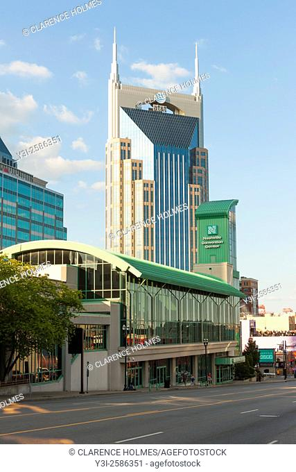A view from Broadway of the AT&T Building and Nashville Convention Center in downtown Nashville, Tennessee