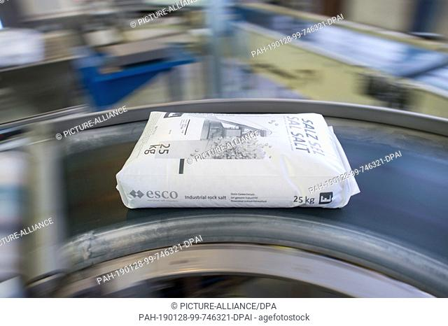 16 January 2019, Saxony-Anhalt, Bernburg: A sack of salt for chemical use is transported by a conveyor belt in the packaging of the European Salt Company (Esco)