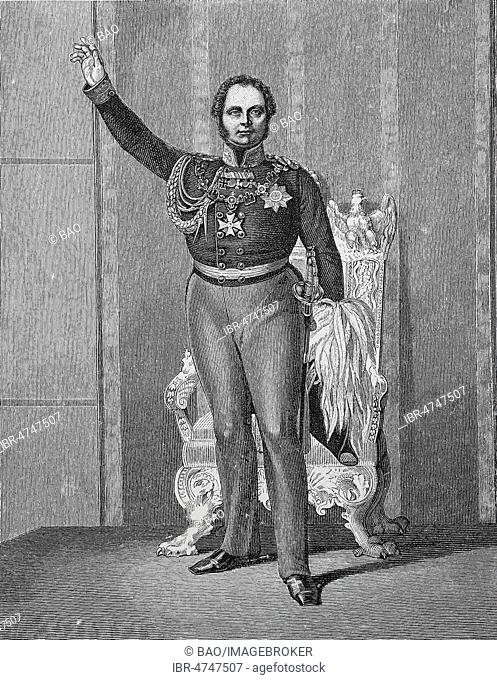Frederick William IV of Prussia, October 15, 1795, January 2, 1861, at the opening of the first United Diet on March 11, 1847, woodcut, Germany