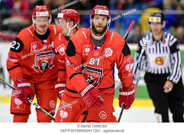 From left hockey player TOMAS VINCOUR of Hradec Kralove in action during the Champions Hockey League H group game: Hradec Kralove vs Cardiff Devils in Hradec...