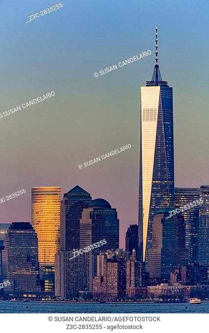World Trade Center Downtown Manhattan - One World Trade Center WTC stands tall and proud in the lower New York City skyline