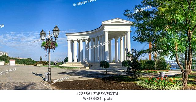 Odessa, Ukraine - 09. 059. 2019. Restored Colonnade at Vorontsov Palace in Odessa, Ukraine, at the sunny summer morning