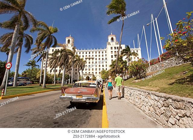 Old american car parked in front of Hotel Nacional, Vedado, Havana, Cuba, West Indies, Central America