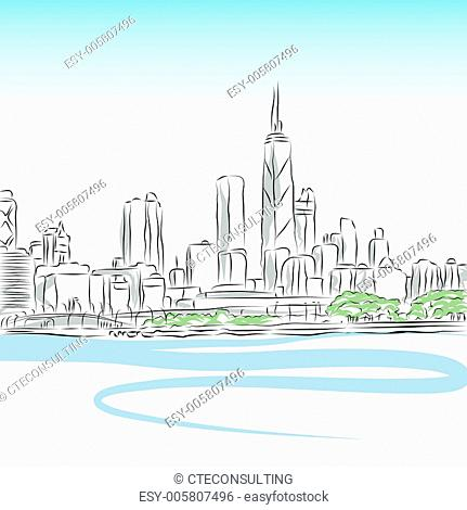 Chicago Cityscape Line Drawing