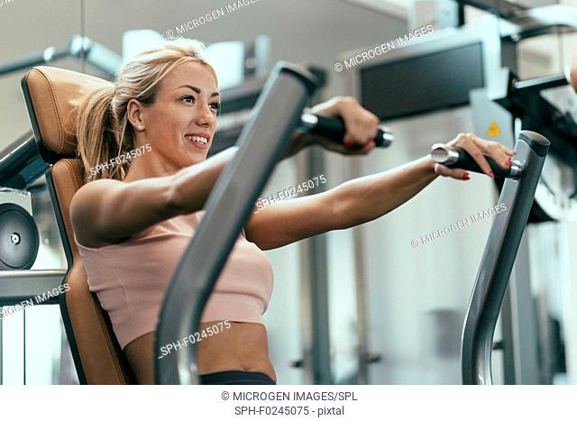 Chest press workout. Young woman exercising in gym