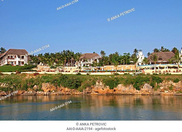 Sea Cliff Resort and Spa Hotel and other residence buildings along the Eastern Coast of zanzibar on the shore, Zanzibar, Unguja Island, Tanzania