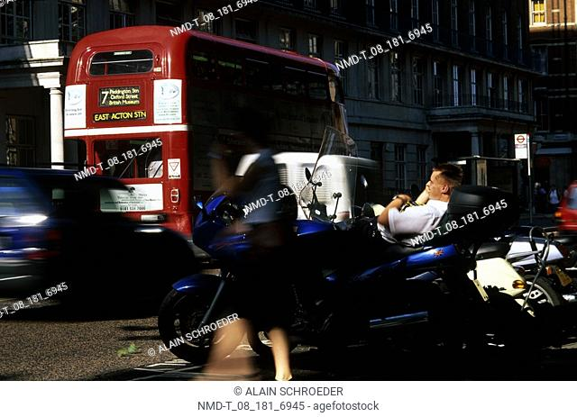 Traffic on the road in a city, London, England