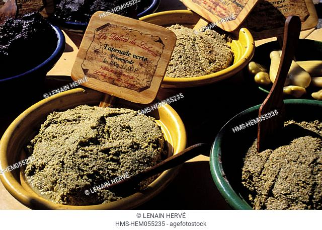 France, Vaucluse (84), Roussillon, one of the Most Beautiful Villages of France, tapenade on a market