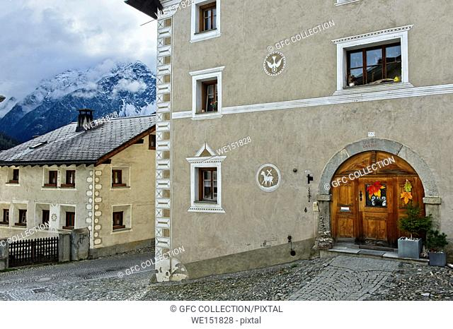 Listed parish house with sgraffiti, Scuol, Engadine, Graubunden, Grisons, Switzerland