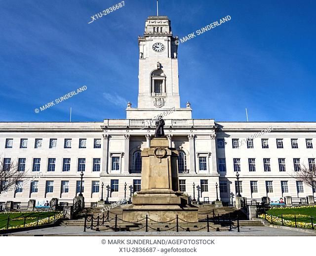 War Memorial and Town Hall at Barnsley South Yorkshire England