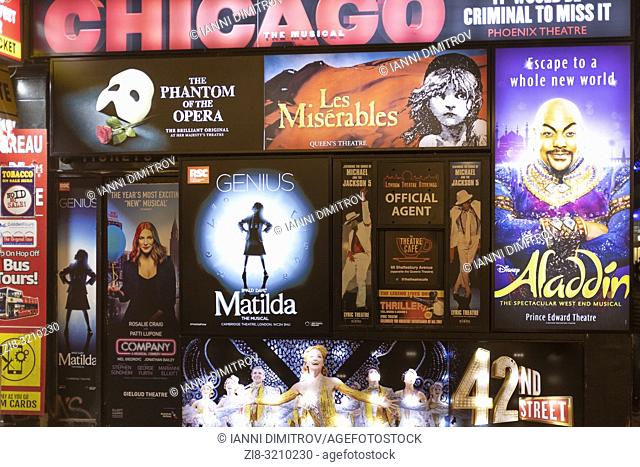 UK,London,West End- Theatre Box Office posters and Billboards