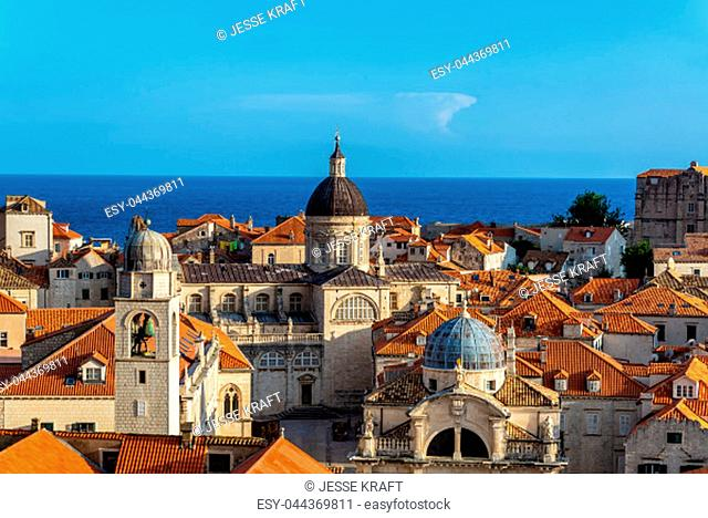 Cityscape view of Dubrovnik, Croatia with the clocktower, Church of St. Blaise, and the cathedral visible
