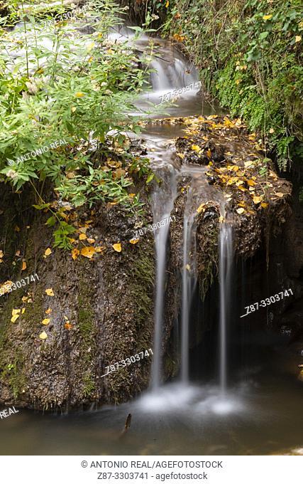 Waterfalls in Río Dulce. Aragosa. Parque Natural Barranco del Río Dulce. Guadalajara Province, Castile-La Mancha, Spain