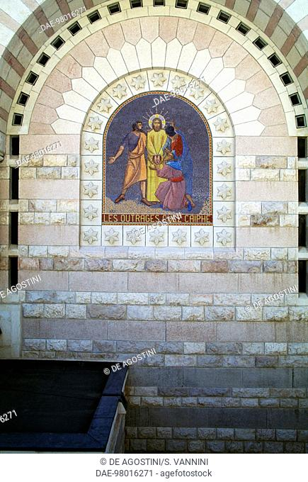 The outrages of Caiaphas, mosaic on the facade of the Church of St Peter in Gallicantu, Mount Zion, Jerusalem. Israel, 20th century