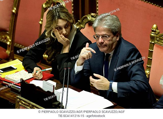 Minister of Public Administration Marianna Madia and Prime Minister Paolo Gentiloni during the debate at Senate, Rome, ITALY-14-12-2016
