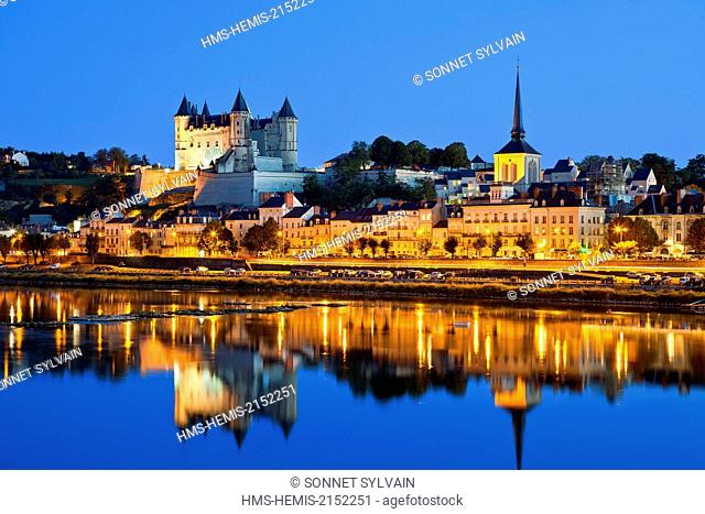 France, Maine et Loire, Loire Valley listed as World Heritage by UNESCO, Saumur, castle of Saumur along the Loire river
