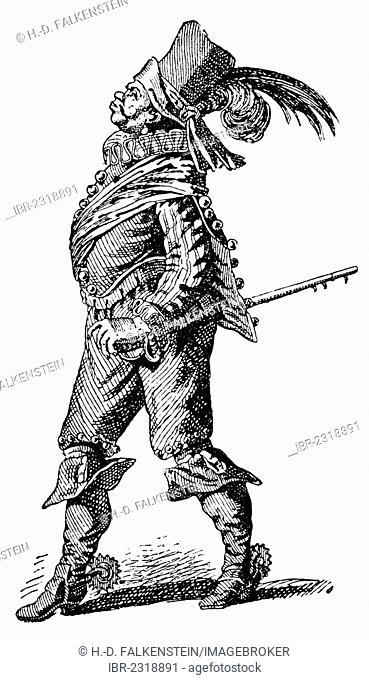 Historic drawing, caricature of a vain Spaniard in the Spanish Netherlands, 16th century