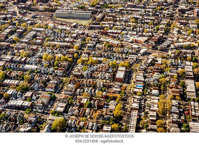 Aerial view of New York City from an airplane