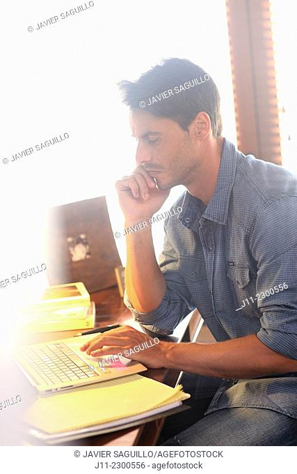 Man working with laptop